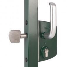 Stainless steel lock for sliding door tube 50 silver.